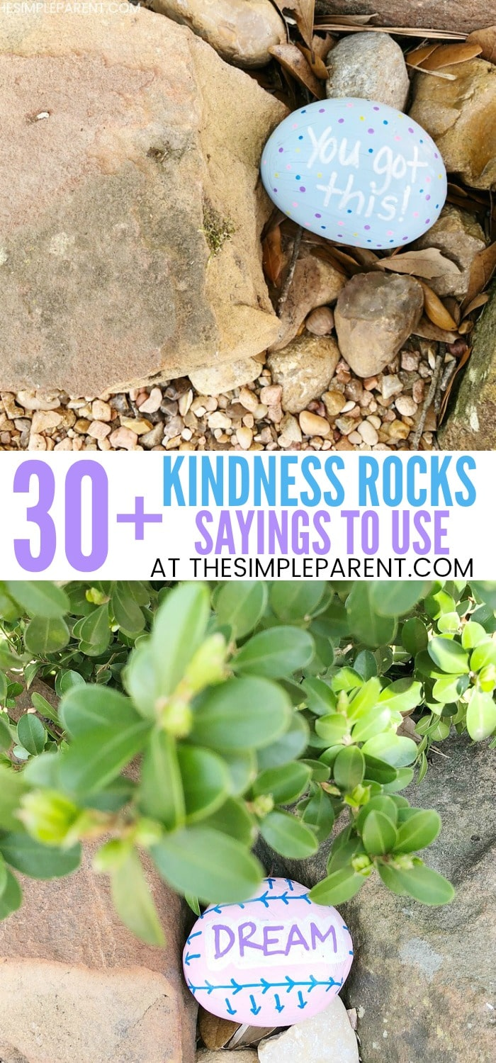 30+ Things to Paint on Rocks when making Kindness Rocks. Learning how to make easy painted rocks is a great project for kids. If you need ideas for quotes or sayings, check out this list!
