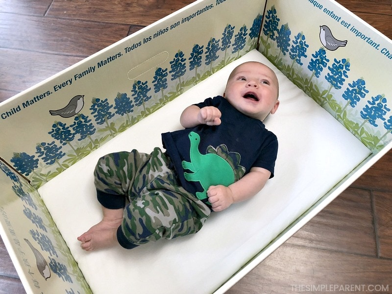 Baby in the Baby Box bed.