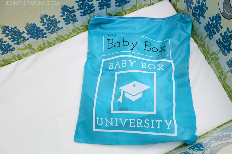 Bag of samples that comes with the baby box bed from Baby Box University.