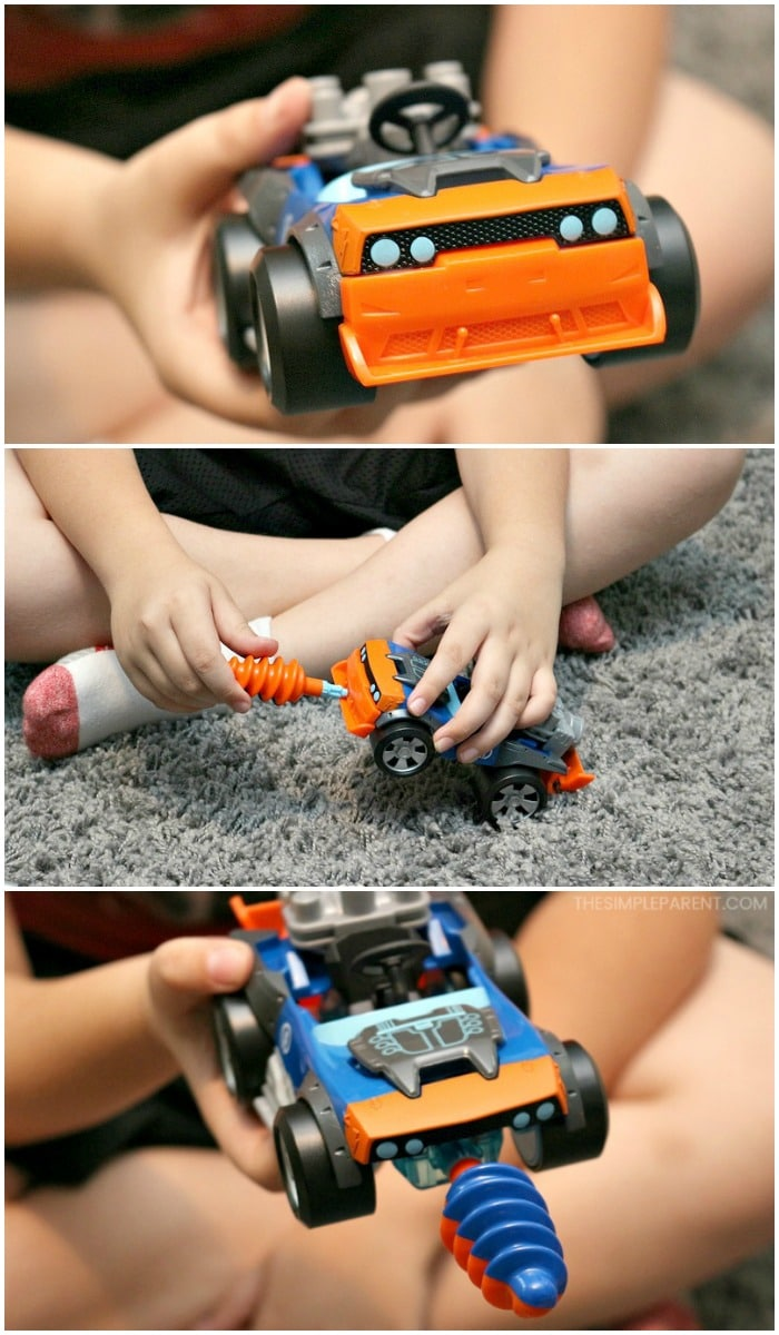 Changing the parts on the Rusty Rivets building toys to make a new creation.