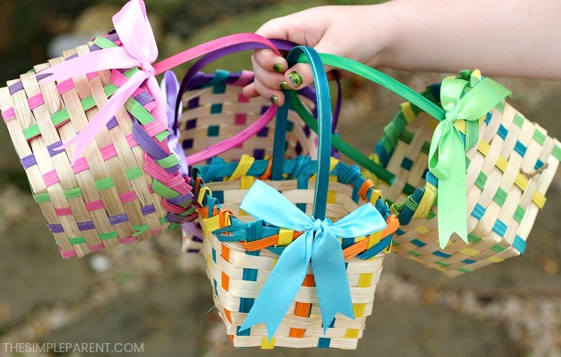 An Easter egg basket for everyone at the hunt is one of the easiest Easter Egg Hunt Ideas!