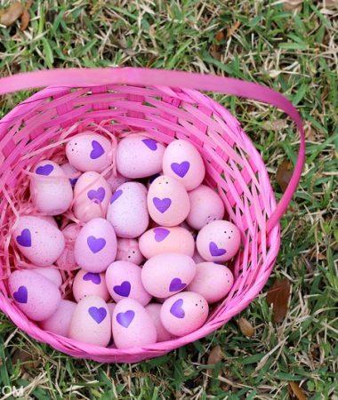 Easter egg hunt eggs in a basket.