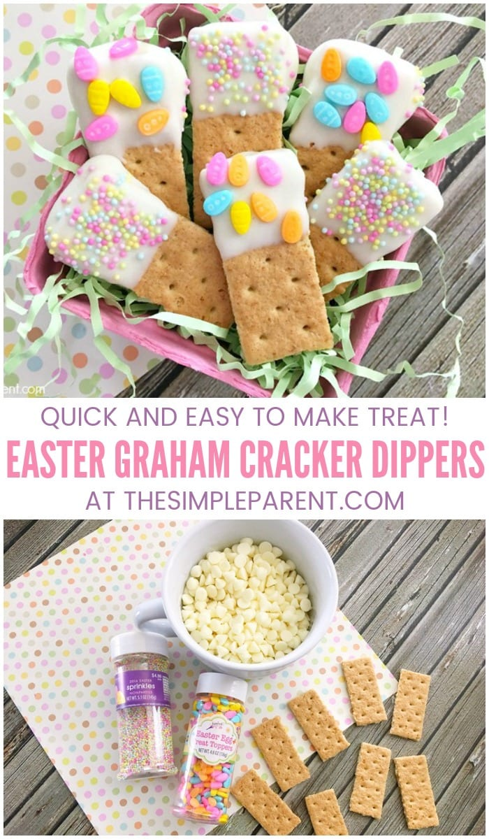 Easter Graham Cracker Dippers - If you're looking for an easy alternative to making and decorating cookies, these graham cracker snacks have the feeling of homemade but are quick and easy to make! It's an Easter food recipe that the kids can help make!