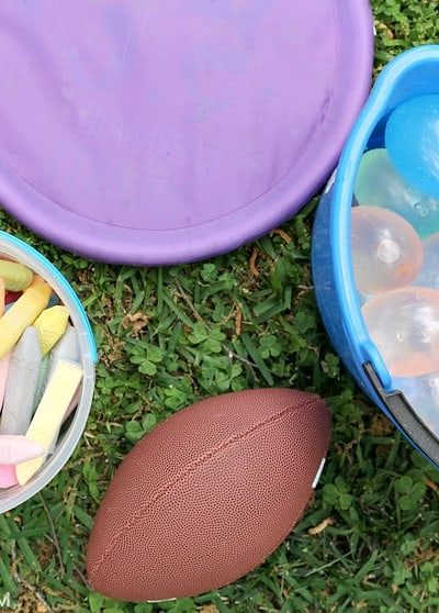 Supplies you need for easy field day game ideas.