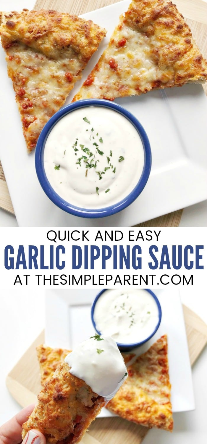 Garlic Dipping Sauce for Pizza - This creamy dip recipe is great for pizza crust, breadsticks, fries, crackers, for chips and anything you want to use for dippers! It's easy to make and is ready in minutes! It also works great for chicken, for steak, and more!