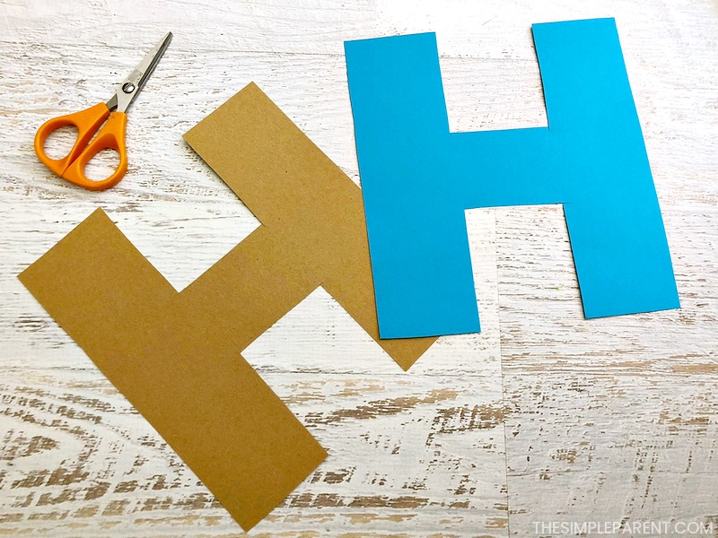 The first step to make a Letter H craft - draw your shapes.