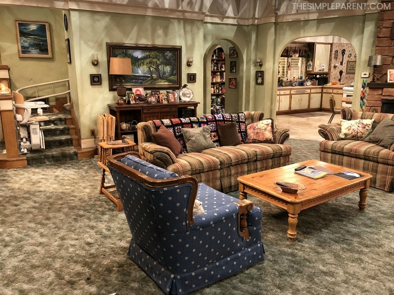 The living room on the set of the Roseanne reboot.