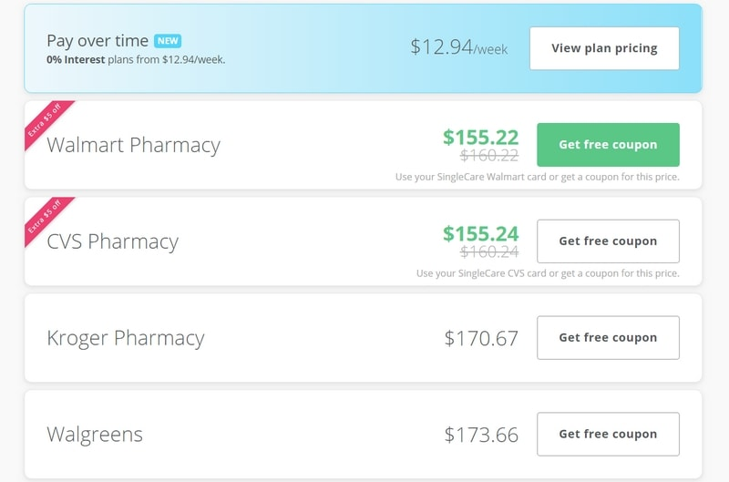 Ways to save using the SingleCare Pharmacy Savings Card on your prescriptions showing price comparisons and savings.