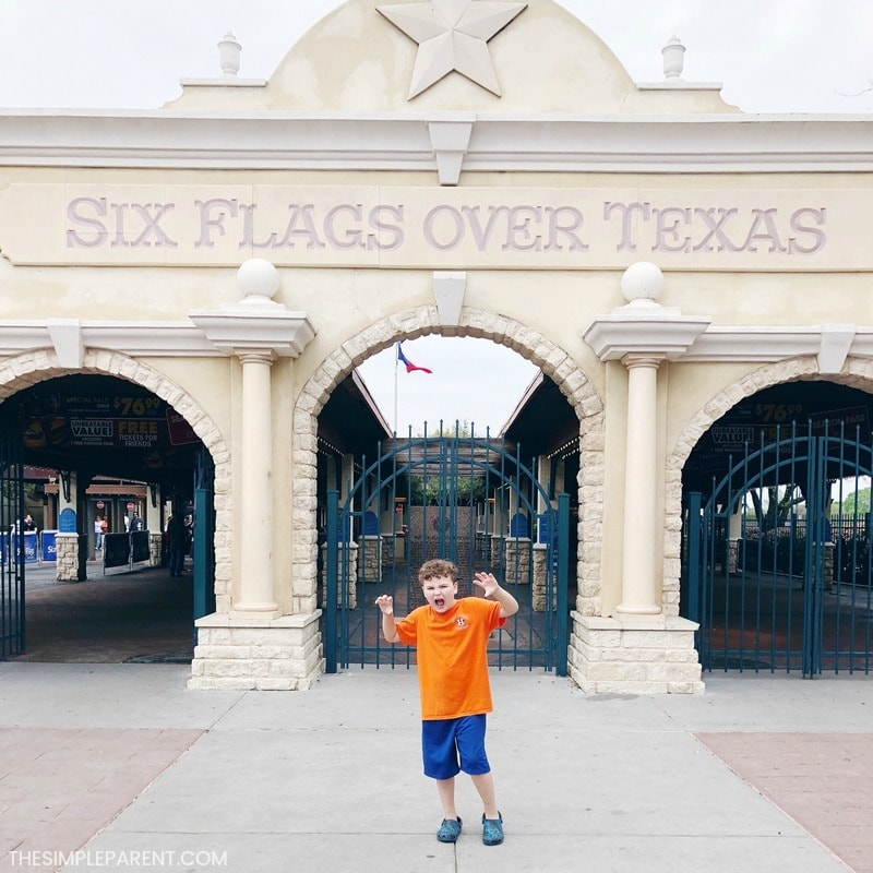 Boy visiting Six Flags Over Texas, one of the fun things to do in Arlington.