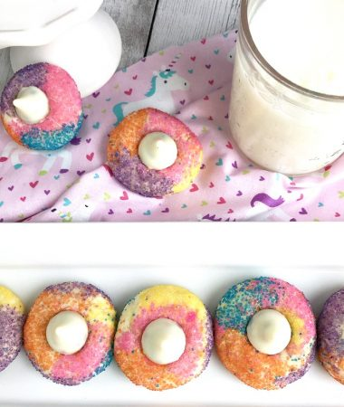 Finished unicorn sugar cookies that are easy to make with cake mix.