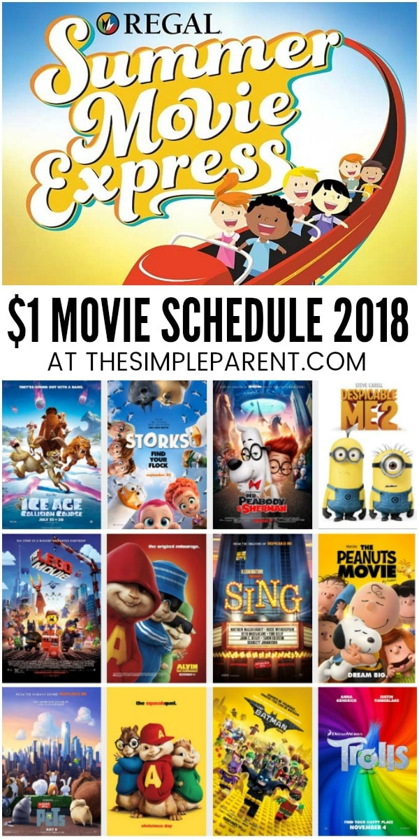 Regal Summer Movie Express Schedule 2018 - See $1 movies with the kids this summer! Regal movies play at 10am on Tuesdays and Wednesdays throughout the summer.
