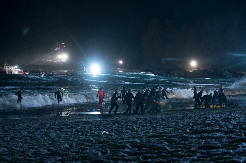 Refugees on the shore in the pilot episode of The Crossing on ABC