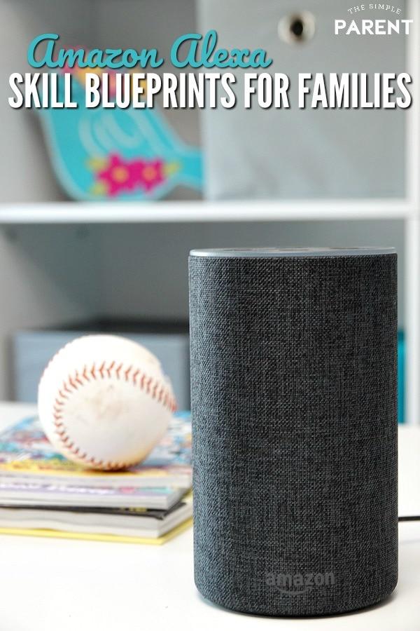 Amazon Echo sitting on counter by kids books and baseball.