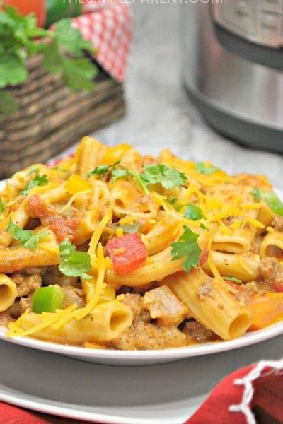 Finished cheesy taco pasta made in the Instant Pot.