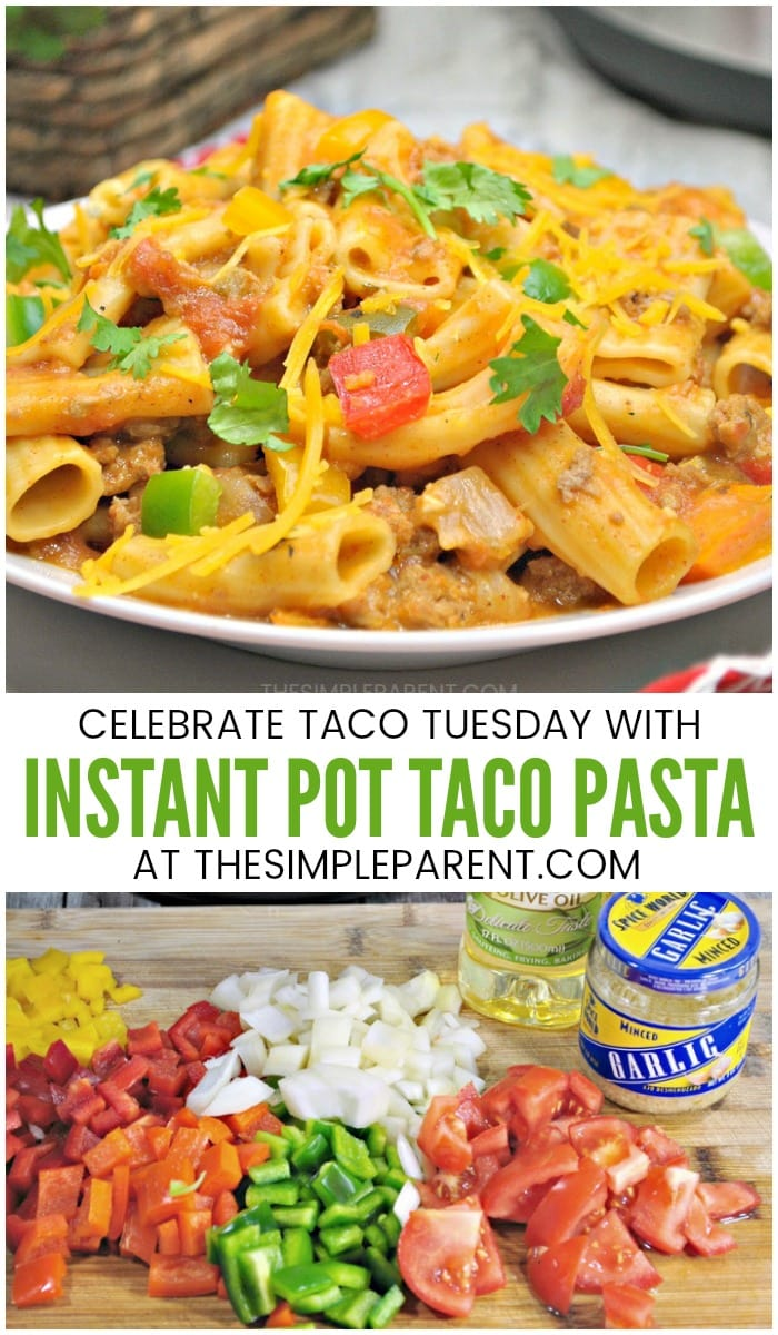 Instant Pot Taco Pasta - Make this pressure cooker pasta recipe with ground beef, turkey, chicken or pork to mimic your favorite kind of tacos! It's an recipe that's perfect for Taco Tuesday or just a great family dinner!