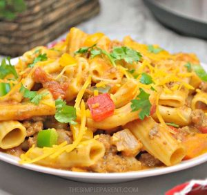 Finished cheesy taco pasta recipe.