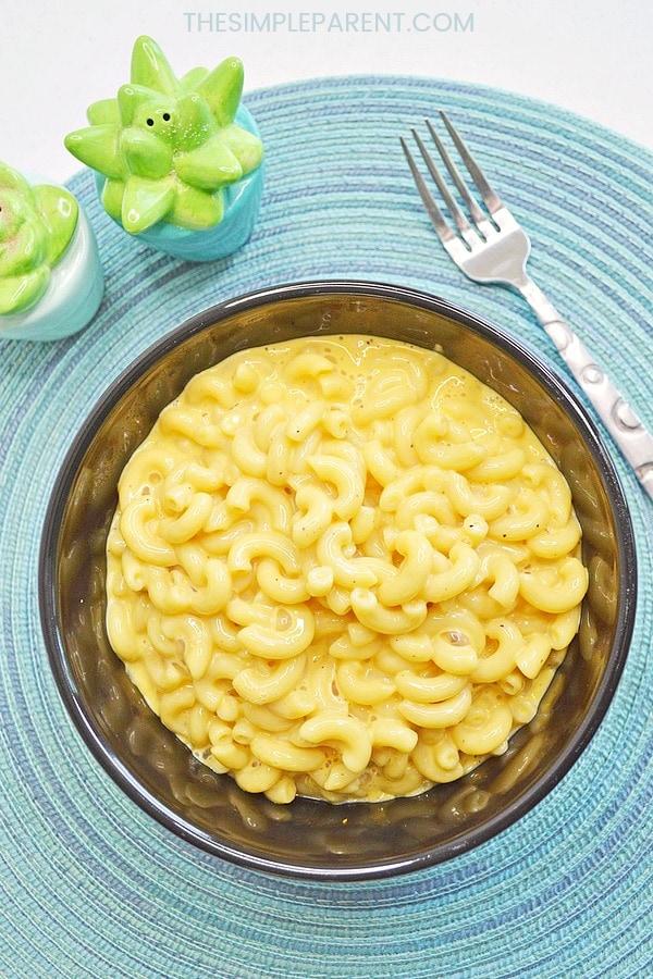 Homemade macaroni and cheese made with Velveeta cheese.