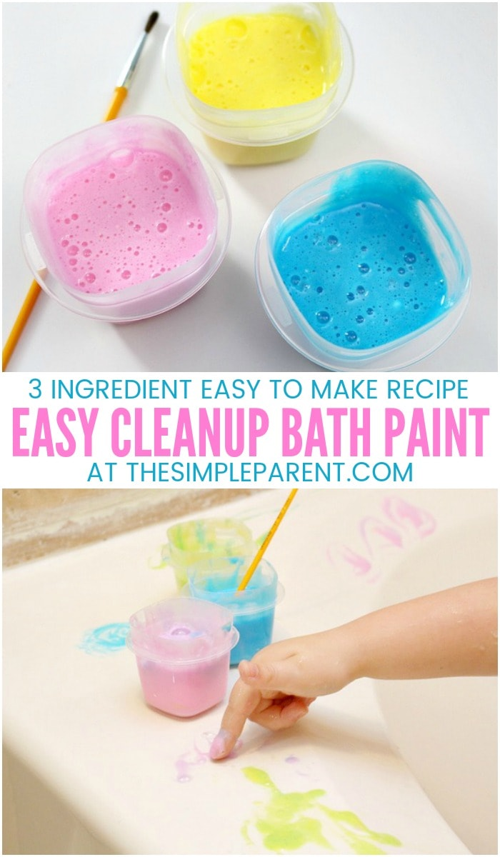 KIDS BATH PAINT - Learn how to make this easy DIY recipe for kids! It's easy to make and easy to clean up with fun, vibrant colors! You'll even see that you end up with some bubbles with this homemade bathtub paint!