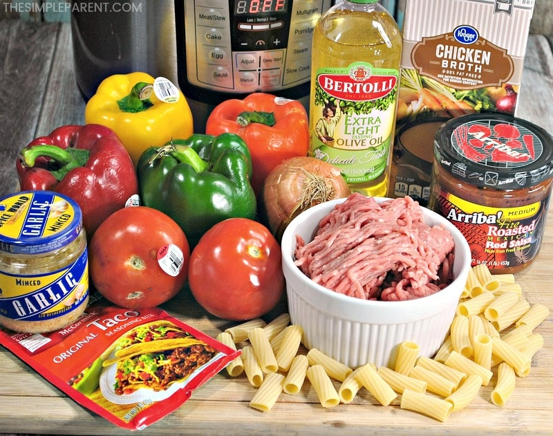 Ingredients to make this one pot taco pasta recipe in the Instant Pot.