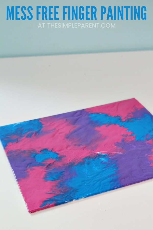 Mess Free Painting for Toddlers - Kids of all ages can do this fun finger painting project. If you're looking for art projects that are easy to clean up, plastic wrap painting works great. Preschool canvases make great gifts too! Just choose colors to go with the occasion!