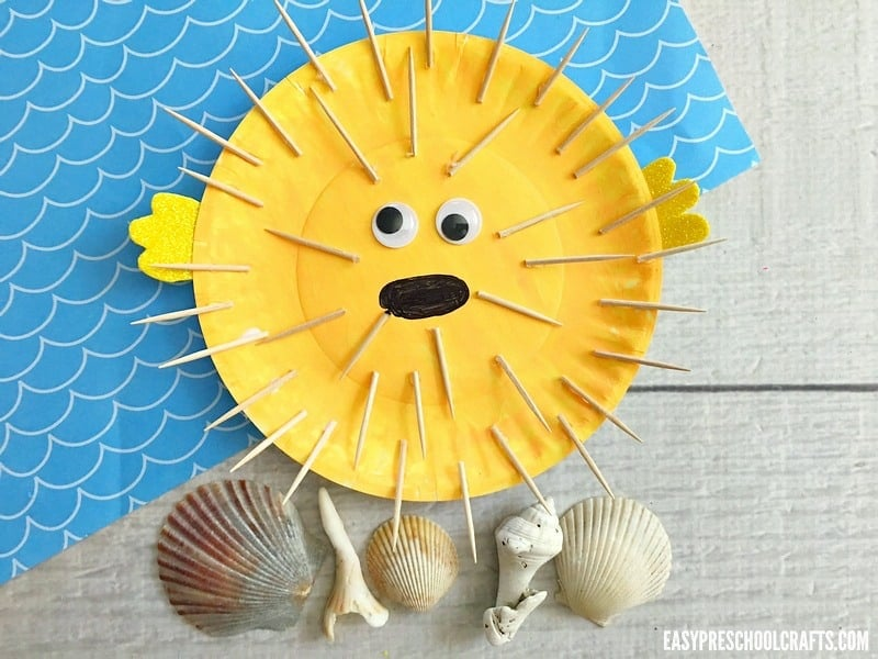Finished paper plat fish craft. Meet the puffer fish!