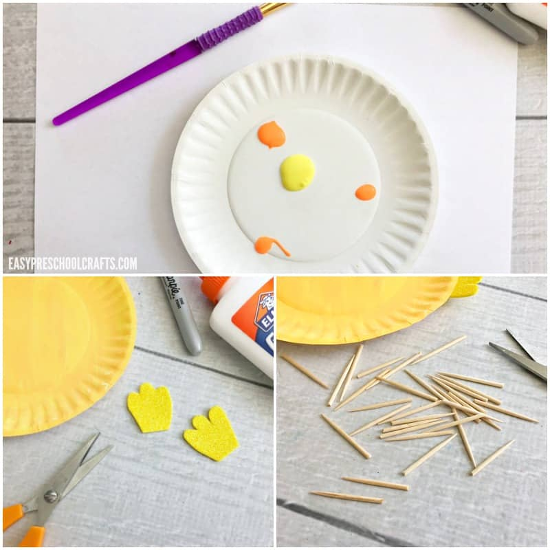 Materials needed to make a paper plate fish craft puffer fish.
