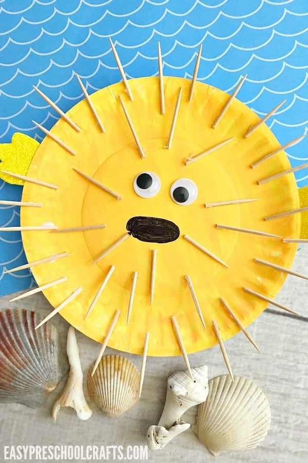 Paper Plate Fish Craft Blows Up Puffer Fish Easy Preschool Crafts