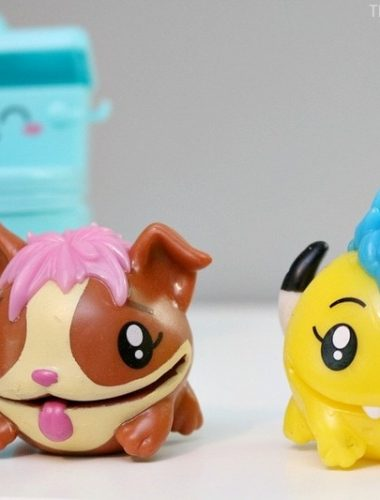 The Pooparoos figures we got were the Corgi dog and the Yellow Monster.