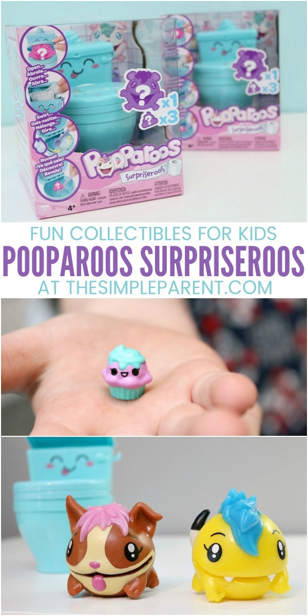 Pooparoos Surpriseroos toys are great for girls and for boys! They're some of the best mystery box types of toys. You get three blind bags to open and one larger collectible figure! Kids will have fun helping the Pooparoos eat their food and use the cute blue toilet!