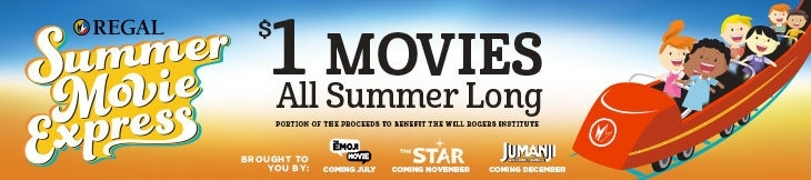 The Regal Movies $1 movies schedule for summer.