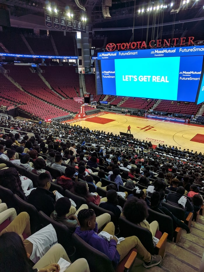 Teaching kids about money with Hill Harper and MassMutual at the Toyota Center in Houston, TX.