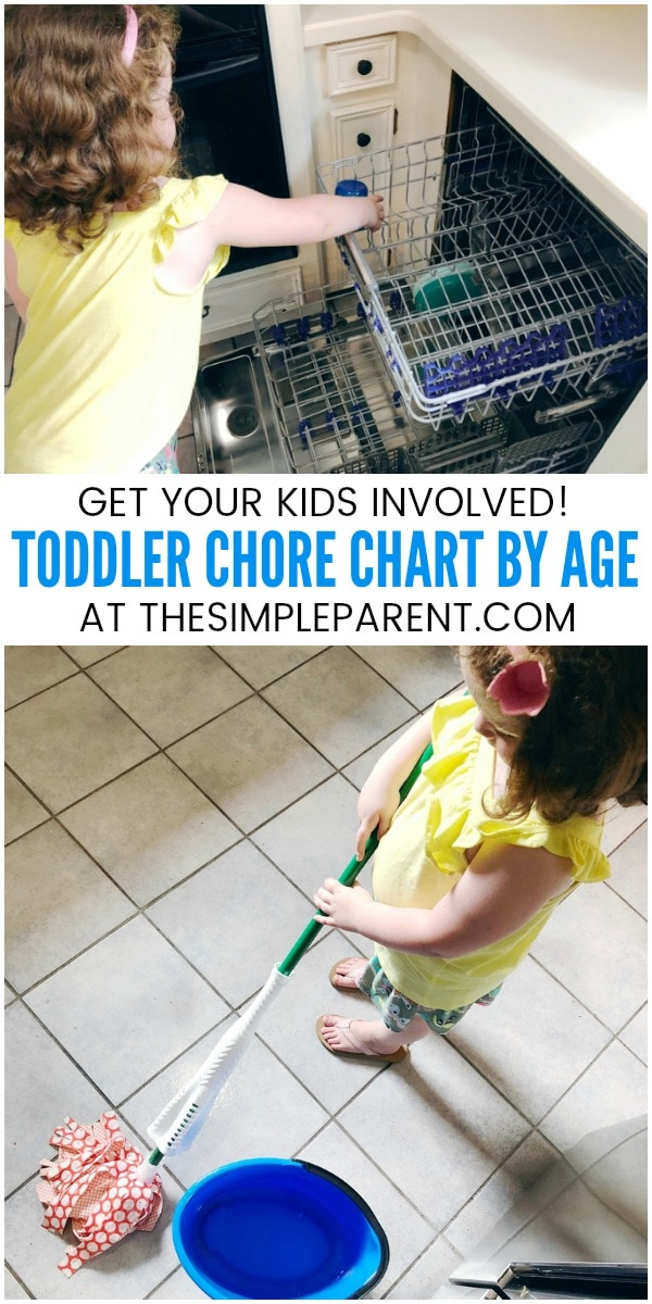 Toddler Chore Chart - Save this free printable for easy ideas organized in a list by age. This list makes it easy to get your kids helping around the house!