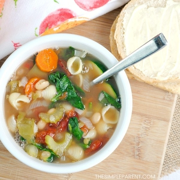Finished bowl of the best minestrone soup recipe!