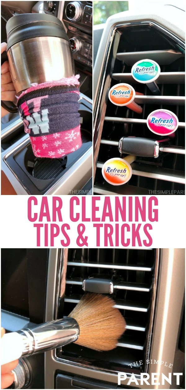 Car Cleaning Hacks - Use these easy tips to clean the interior and exterior of your car in between auto detailing. With these DIY hacks you can clean everything from the seats and carpet to the windshield and dashboard. Plus you can leave your car with a great smell!