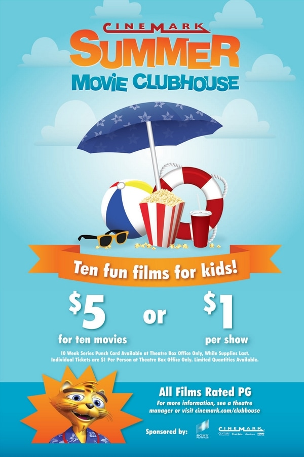 Information about the Cinemark Summer Movie Clubhouse $1 Movies