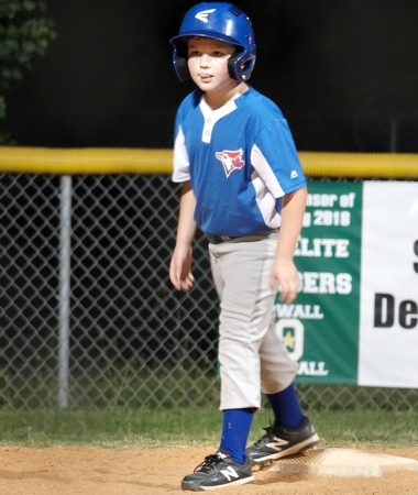 Boy playing baseball in the Spring