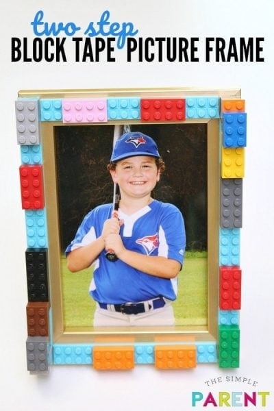 Lego picture frame craft made with Mayka Tape.