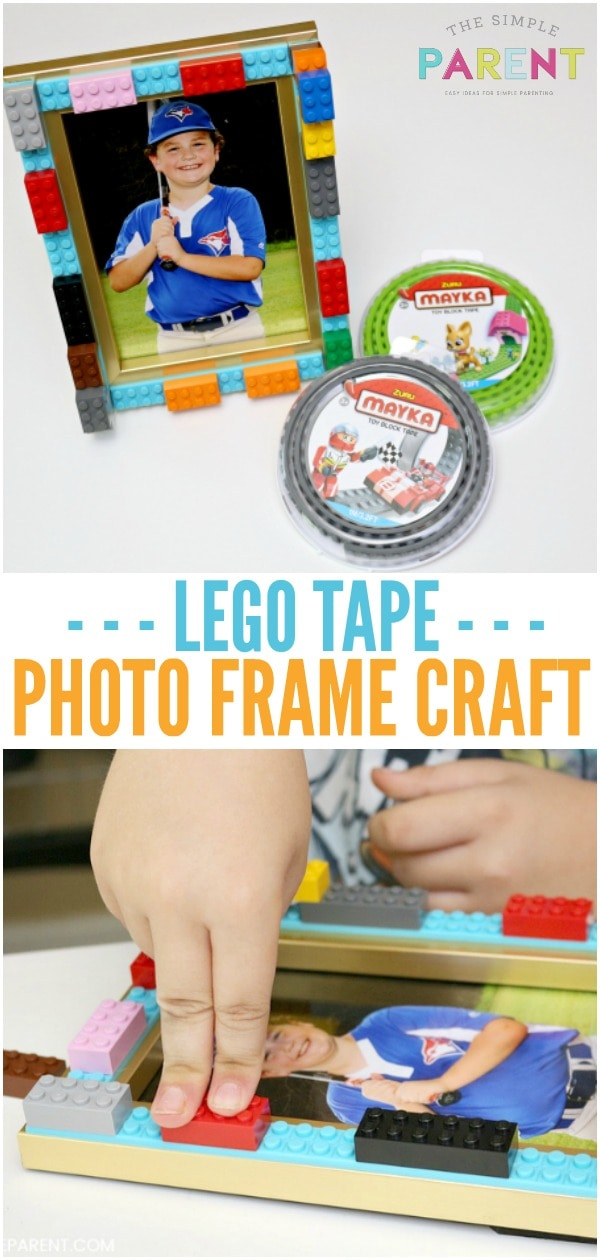 Lego Picture Frame Craft uses Mayka Tape to turn a photo frame into a personalized photo gift.