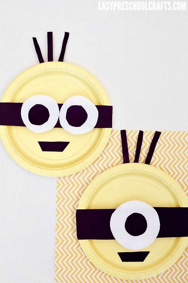 Despicable Me Minions made out of paper plates