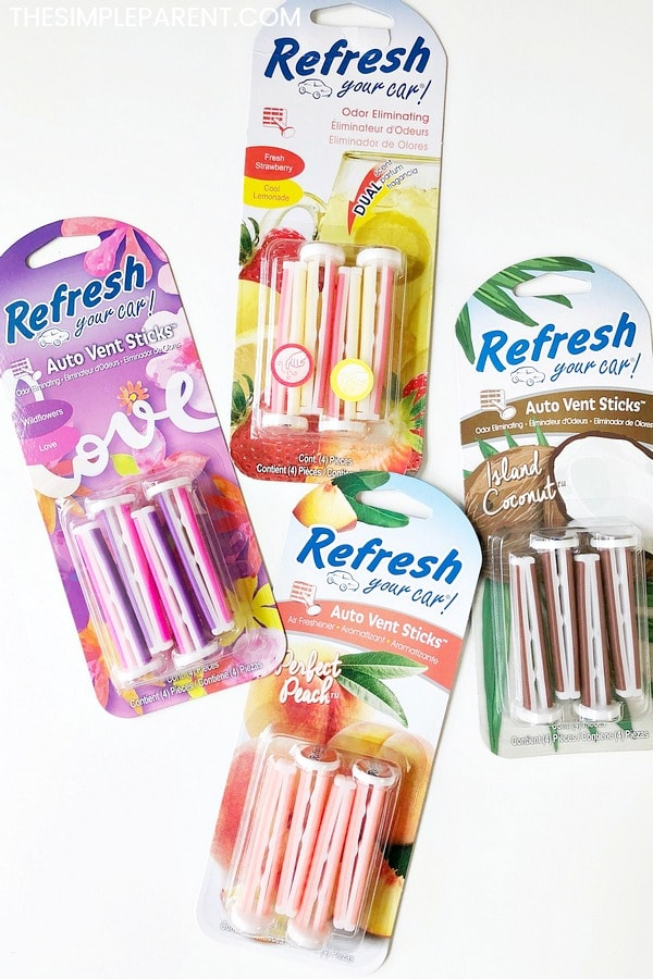 Different scents of Refresh Your Car vent sticks
