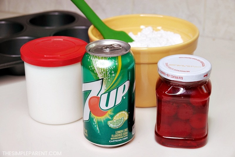 Ingredients to make a Shirley Temple Cake