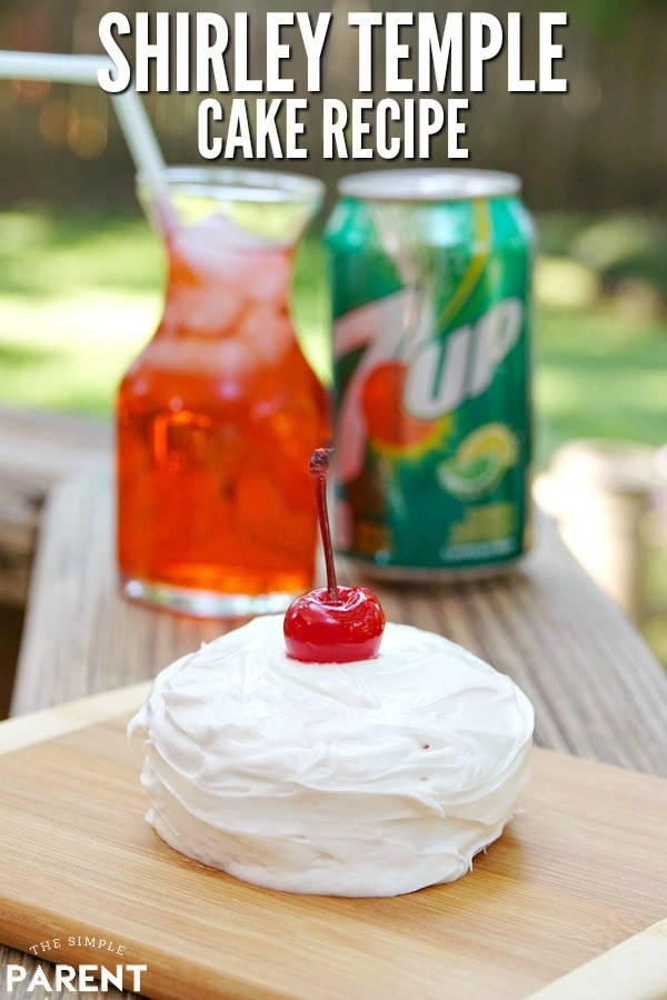 Shirley Temple Cake Recipe - Use box cake mix to make this easy cake or cupcakes. It's based on a basic 7UP Cake recipe with a few tweaks! Everything is better with a cherry on top!