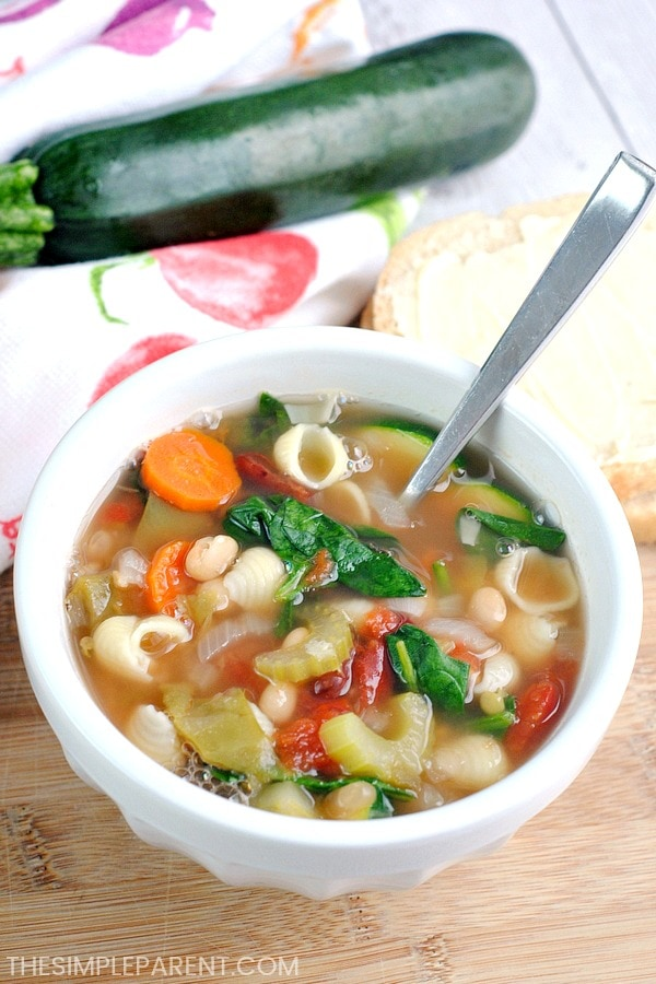 Bowl of slow cooker minestrone soup