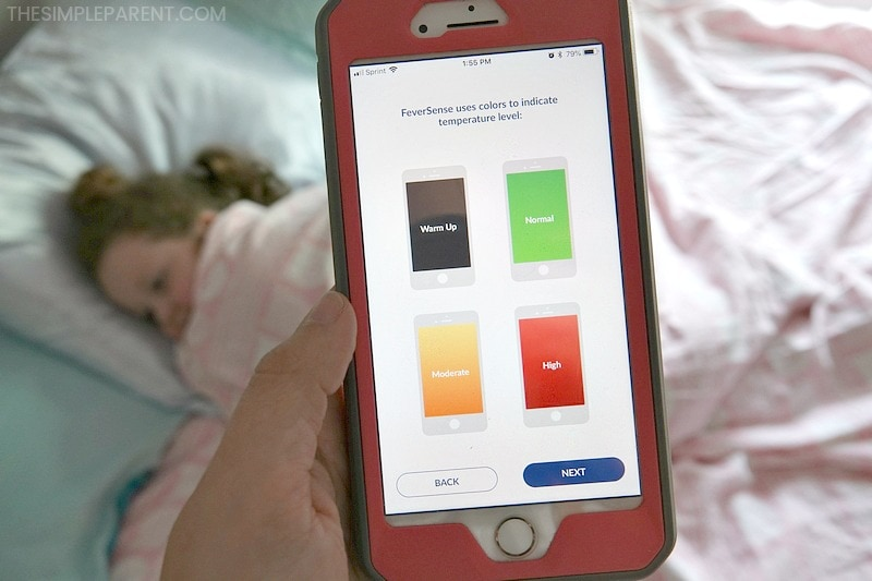 Showing temperature screens for Enfasmart FeverSense, the best thermometer for kids