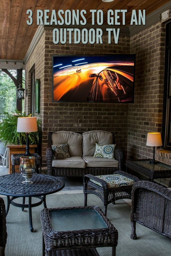 The best outdoor tv on a covered back deck.