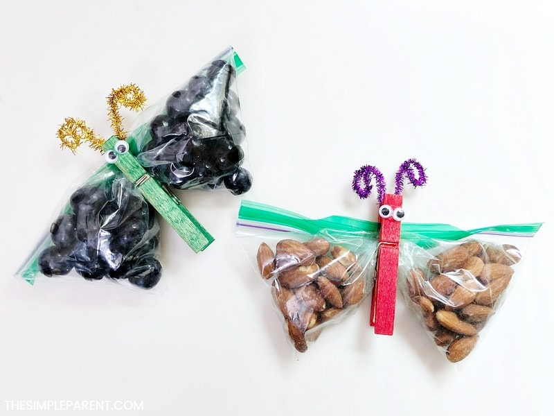 Finished Butterfly Snack Bags with healthy snacks