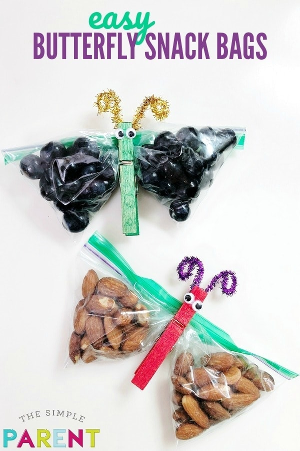 Butterfly Snack Bags filled with healthy snacks for kids
