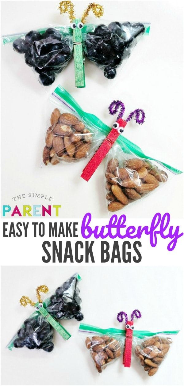 Butterfly Snack Bags are easy to make and are a great way to encourage your family to eat healthy snacks! Learn how to make this easy craft for kids using clothespins! Pair it with the Very Hungry Caterpillar for more fun together!