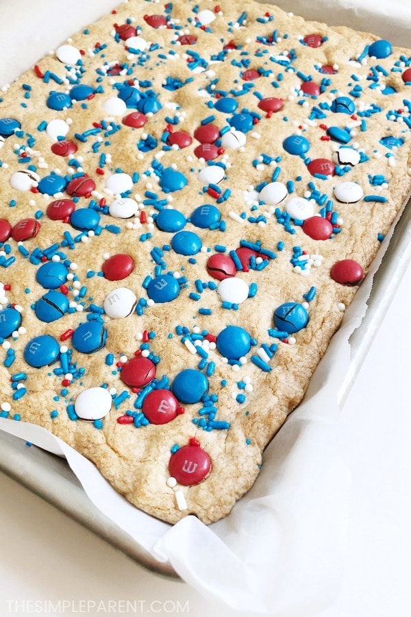 Sugar Cookie Bars recipe out of the oven