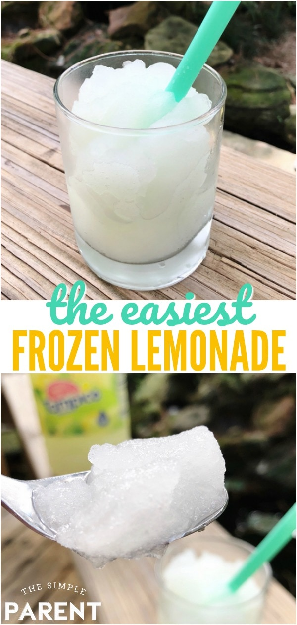 Frozen Lemonade is an easy recipe that is perfect for summer! Learn how to make your own slushie for kids with just one simple ingredient! Or personalize your drink by adding some fresh fruit!